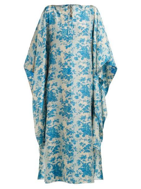 By Walid - Ingrid Floral Print Silk Kaftan - Womens - Blue Print