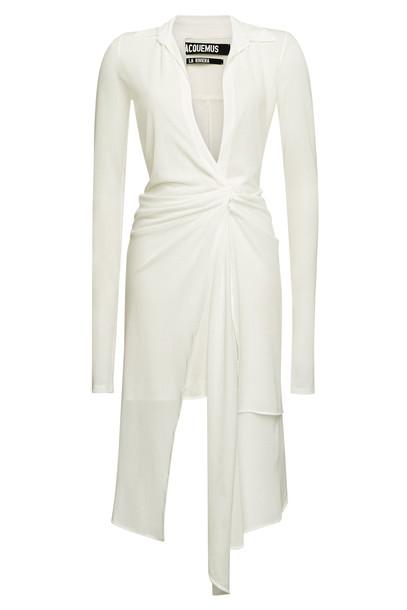 Jacquemus La Robe Bellagio Asymmetric Mini Dress  in white