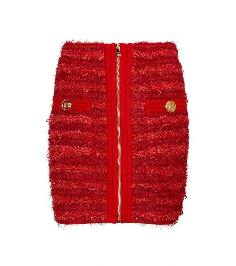 Balmain Tweed miniskirt in red