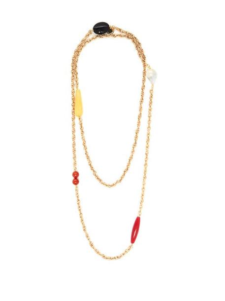 Carolina Herrera - Beaded Double Layer Chain Necklace - Womens - Gold