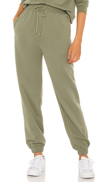 SNDYS LOUNGE Luxe Sweatpants in Olive in khaki