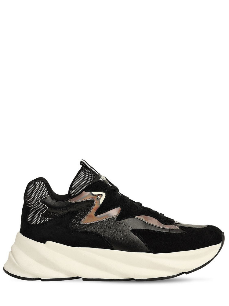 ELENA IACHI 50mm Suede & Leather Sneakers in black