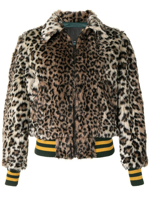 R13 leopard print faux-fur jacket in brown