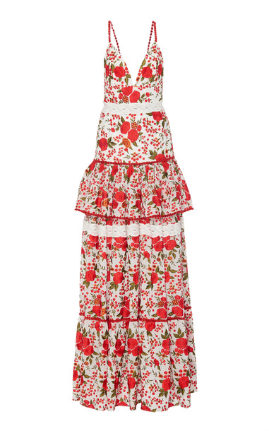 Alexis Cassis Tiered Floral Maxi Dress in red