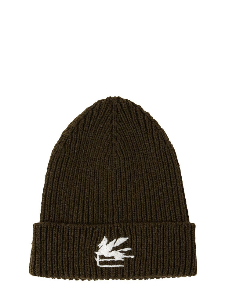 ETRO Wool Knit Beanie W/ Embroidered Logo in green