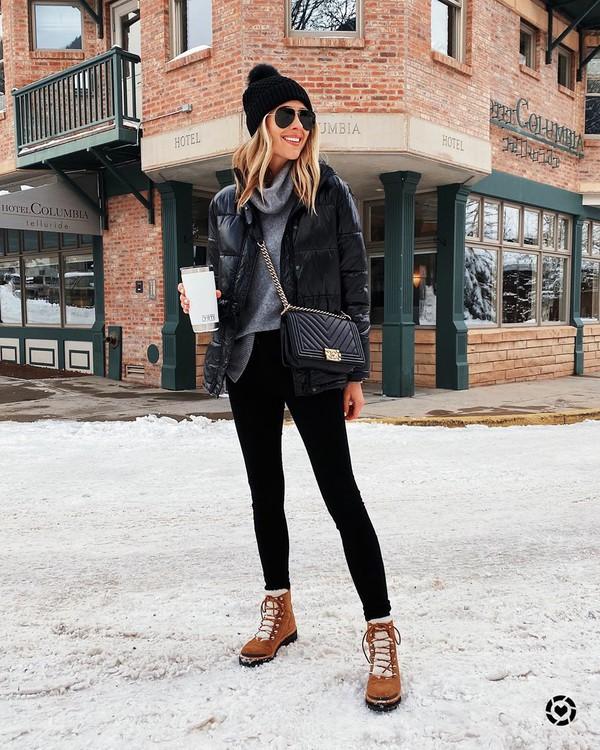 jacket black jacket puffer jacket ankle boots black skinny jeans grey sweater turtleneck sweater black bag black beanie