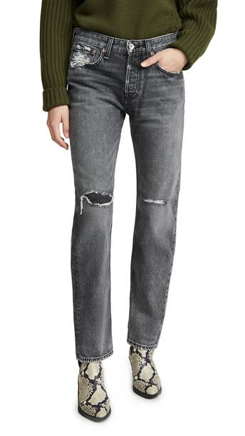 Rag & Bone/JEAN Rosa Mid-Rise Boyfriend Jeans in black