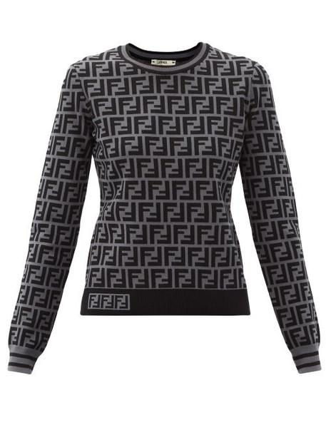 Fendi - Ff-jacquard Sweater - Womens - Grey Multi