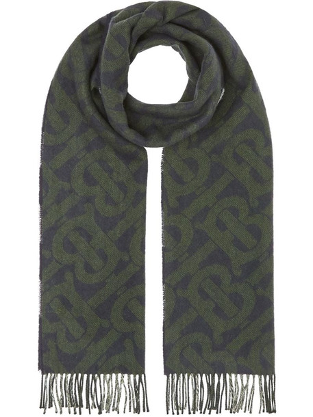 Burberry reversible monogram checked scarf in blue
