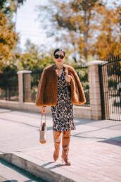 hallie daily,blogger,coat,dress,shoes,jewels,sunglasses,bag,knee high boots,fall outfits,leopard print