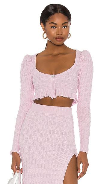 LPA Soren Cropped Sweater in Lavender in lilac