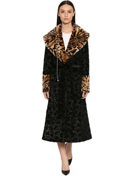 SRVZ Faux Fur Astrakan & Leo Maxi Coat in black / leopard