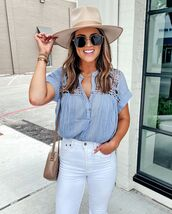 top,blouse,white jeans,skinny jeans,bag,hat