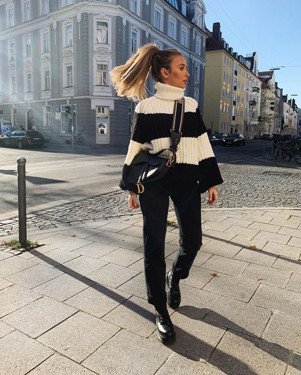 sweater turtleneck sweater striped sweater black pants straight jeans black boots dior bag