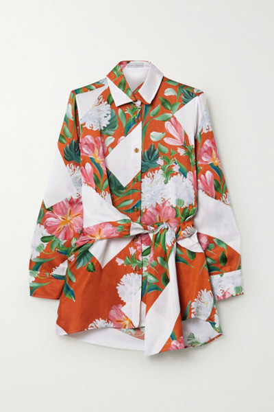 palmer/harding palmer//harding - Julia Belted Printed Satin-twill Shirt - Pink