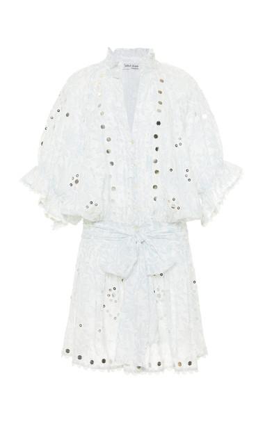 Juliet Dunn Short Sleeved Cotton Blouson Dress in white