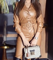 jumpsuit,brown leather