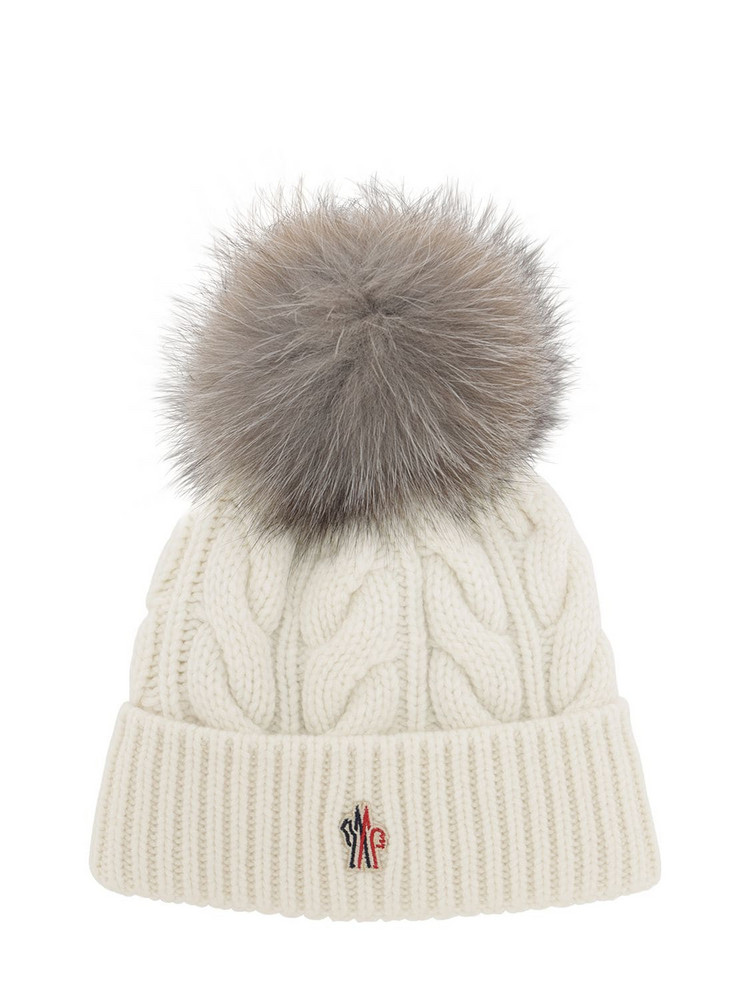 MONCLER GRENOBLE Wool & Cashmere Cable Knit Hat in white