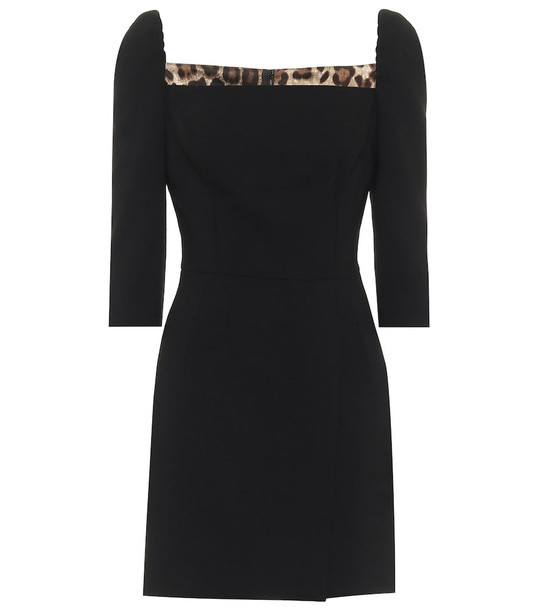 Dolce & Gabbana Stretch-wool minidress in black