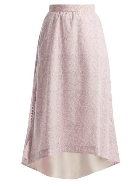 Loewe - Liberty Print Cotton Poplin Skirt - Womens - Pink Print