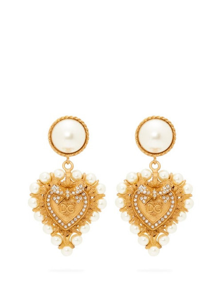 Dolce & Gabbana - Faux Pearl Embellished Heart Clip Earrings - Womens - Gold