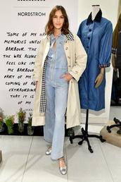 jumpsuit,denim,jeans,alexa chung,celebrity,coat