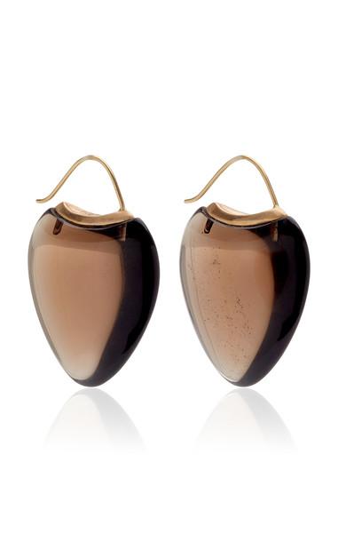 EN Smokey Quartz Papal Earrings in brown