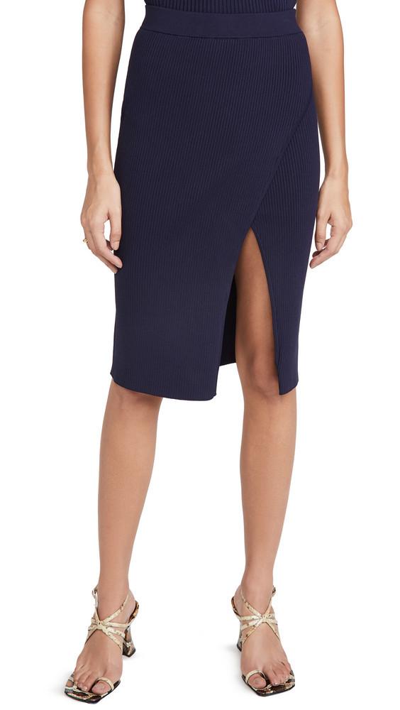 Jonathan Simkhai Deep Rip Wrap Skirt in midnight