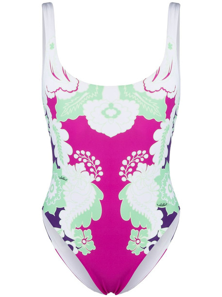 Valentino botanical-print swimsuit - White