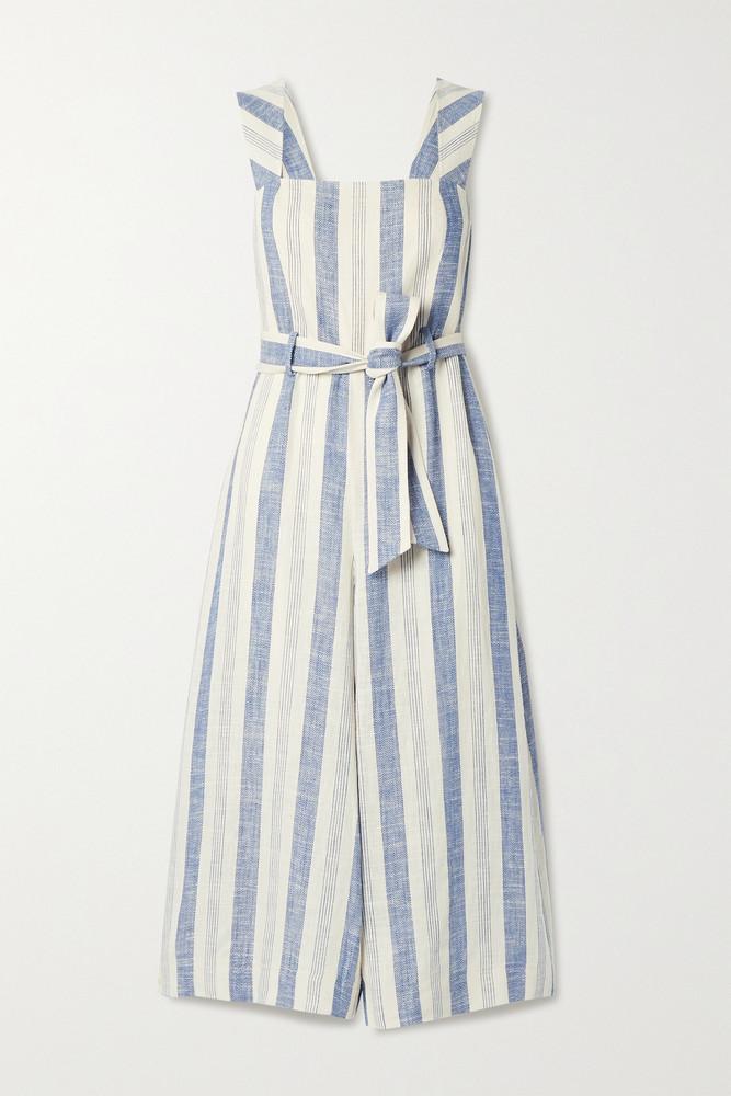 ALICE + OLIVIA ALICE + OLIVIA - Marty Belted Striped Linen-blend Jumpsuit - Ecru
