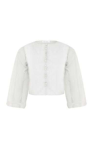 Razan Alazzouni Button Down Bubble Sleeve Top Size: 34 in grey