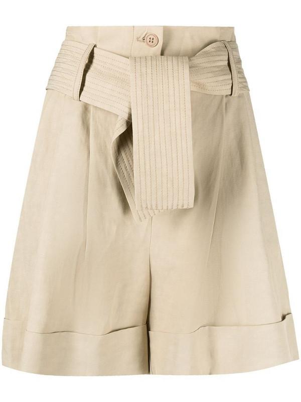 P.A.R.O.S.H. high-rise tied-waist shorts in neutrals
