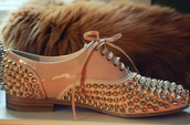 nude,freddy,flats,louboutin,shoes,spikes,studs,white,white shoes