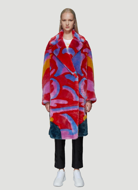 Stella McCartney The Beatles Yellow Submarine Faux Fur Coat in Pink size IT - 40