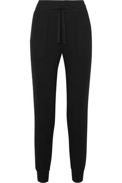 The Range - Alloy Ribbed Stretch-knit Track Pants - Black