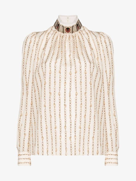 Chloé Chloé High neck chain detail blouse in neutrals