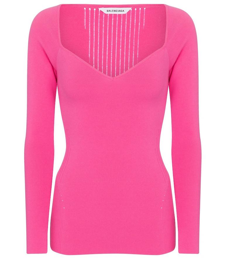 Balenciaga Stretch-knit sweater in pink