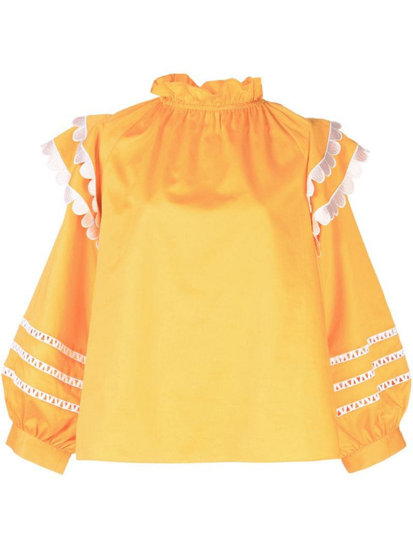 Cynthia Rowley Elia scalloped embroidered top in yellow