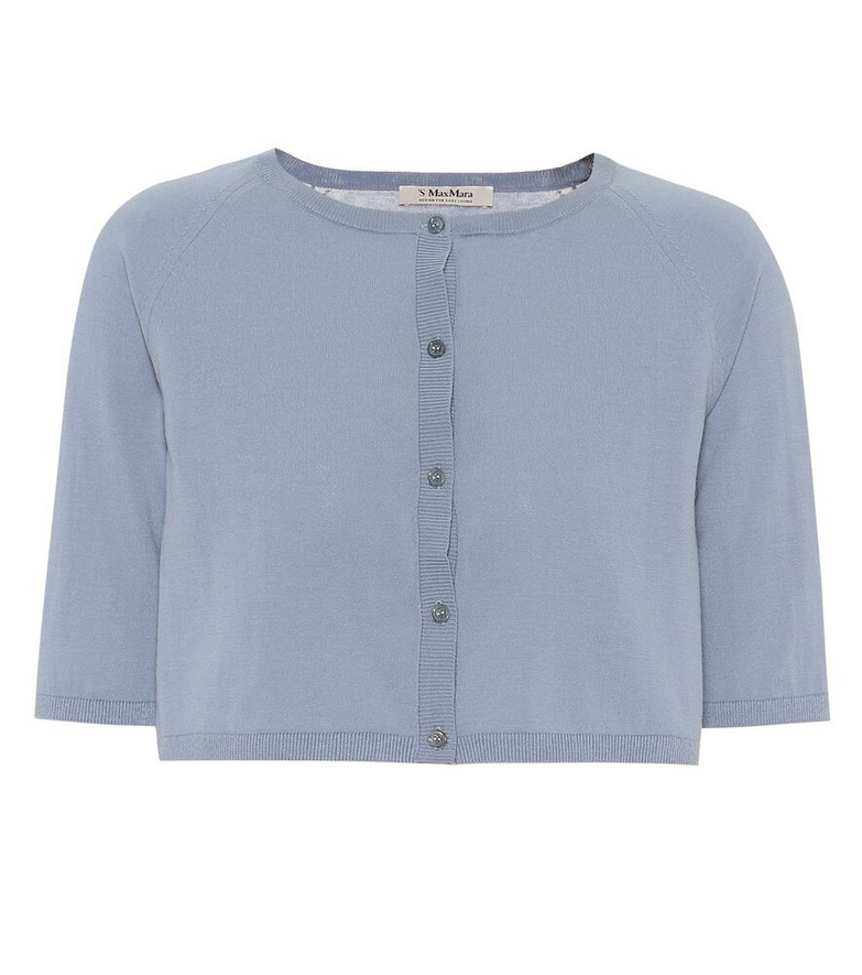 S Max Mara Giochi cropped cotton cardigan in blue