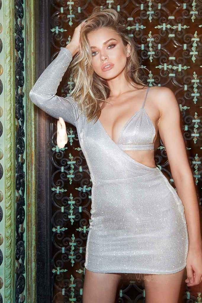 Lilliana Shimmer Asymmetric Dress with Bralet - Silver