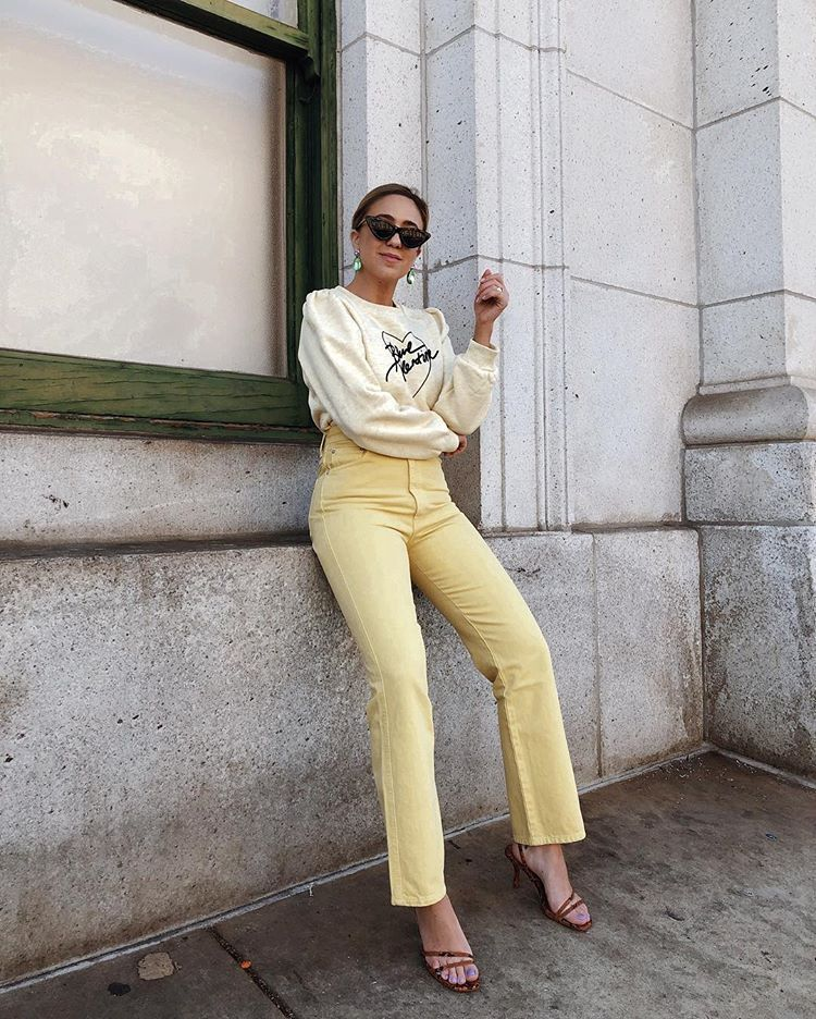 jeans high waisted jeans straight jeans yellow high heel sandals sweatshirt sunglasses