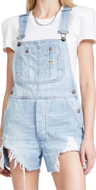 R13 Overall Shorts in blue