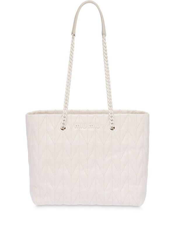 Miu Miu Matelassé quilted tote bag in white