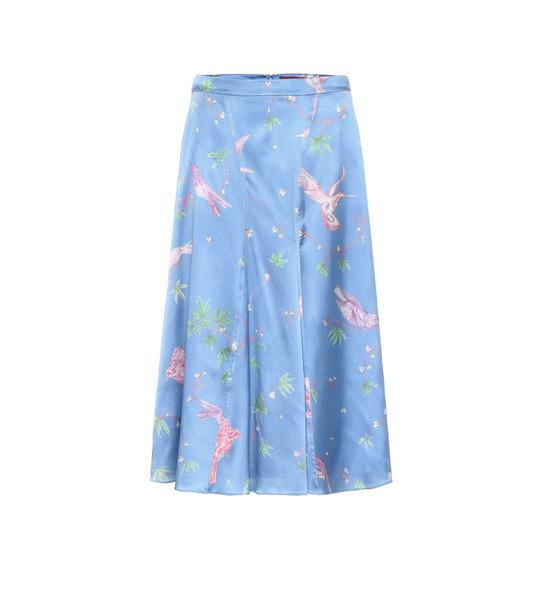 Altuzarra Caroline printed silk midi skirt in blue