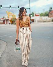 pants,high waisted pants,striped pants,transparent  bag,sandals,top