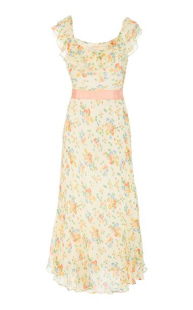 LoveShackFancy Faith Silk Ruffle Floral Dress Size: 00 in white