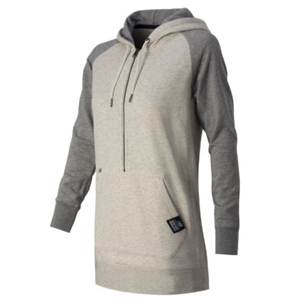 New Balance 53500 Women's Essentials Plus Half Zip Hoodie - Ivory Heather (WT53500SAH)