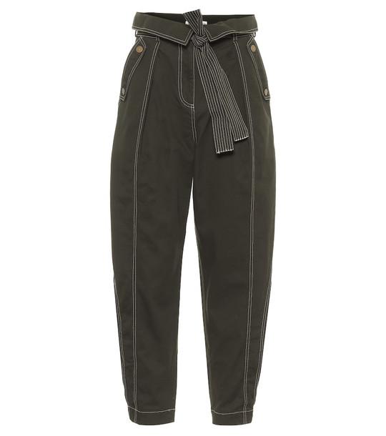 Ulla Johnson Rowen cotton wide-leg pants in green