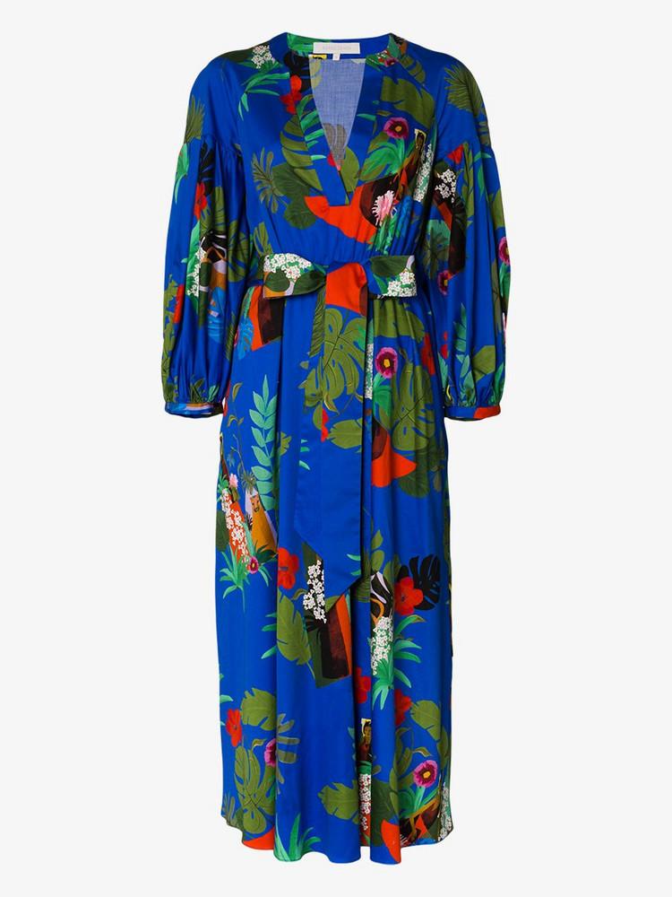 Borgo De Nor Mia floral print flared dress in blue