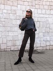 trini,blogger,sunglasses,sweater,jeans,shoes,bag